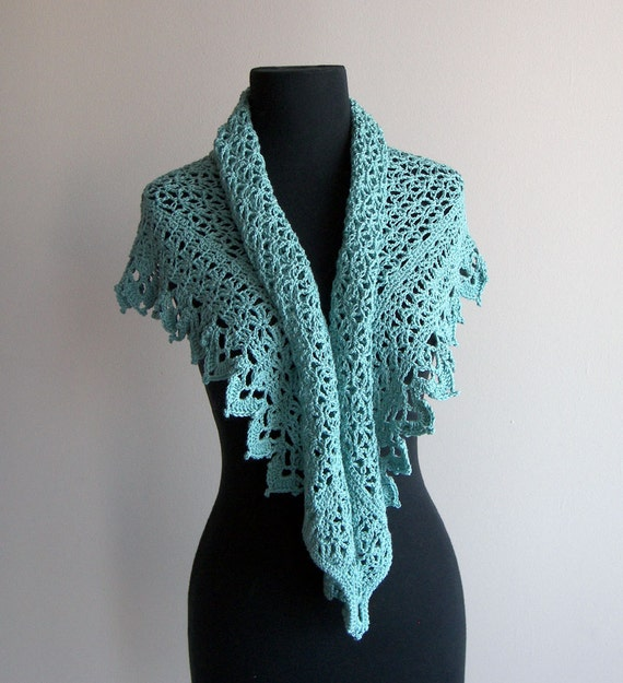 Crochet Lace Scarf Prayer Meditation Comfort Shawl Wrap, Teal, Supersoft Pima Cotton, Acrylic, Women's Fashion, Ready-to-Ship FREE SHIPPING