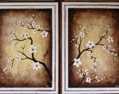 White Asian Cherry Blossoms Original Oil Painting - sheriwiseman