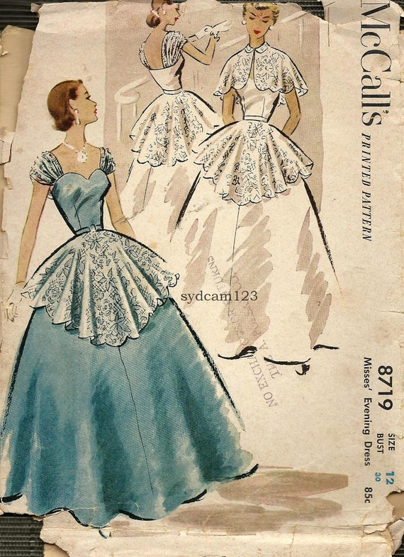 Vintage 1951 Wedding or Evening Gown Lace Shoulders Peplum and Cape McCalls 8719 Bust 30
