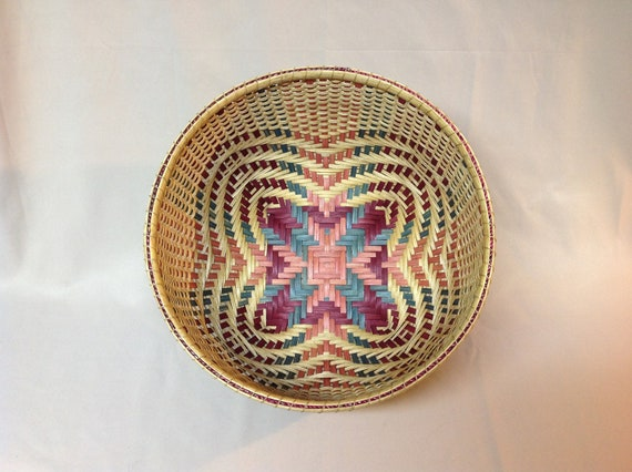 Large, Round Quatrefoil Basket, Hand Woven, Pink, Teal, Burgundy, Cathead Shape