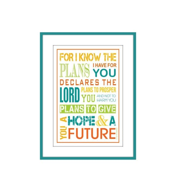 Christian Kids Scripture Wall Art Jeremiah 29:11 5 X 7 with Mat