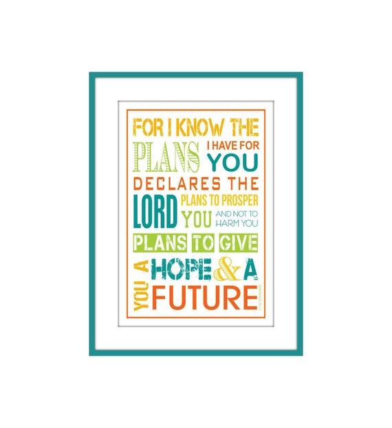 Christian Kids Scripture Wall Art Jeremiah 29:11 5 X 7 with Mat