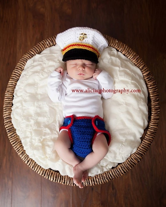 Original Design Crochet Marine Corps Officer Blues Cover and Diaper cover set, Baby Hat Photography prop