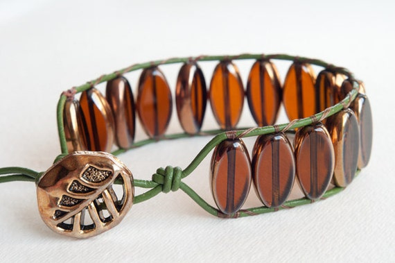 Leather Wrap Bracelet, OOAK, Single Wrap Bracelet, Cuff Bracelet, Vintage Leaf Button, Amber Glass Beads, Boho, Chic, Falling Leaves
