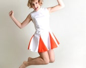 Vintage Cheerleader Costume Dress - White and Tangerine - Medium - zwzzy