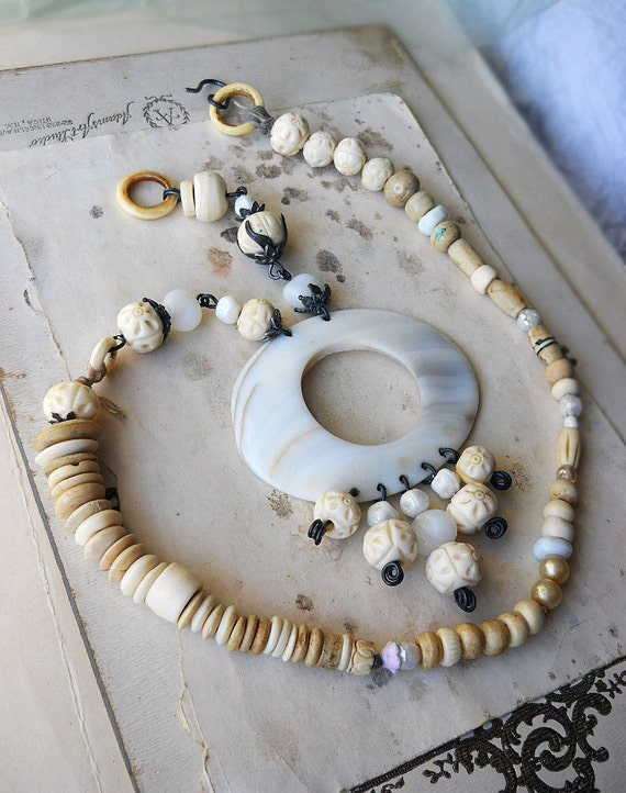 Beaded Necklace - Rustic Bone and Shell Assemblage Necklace - Mother of Pearl Chandelier Pendant - Cream and White Beads