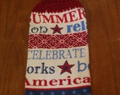 Patriotic Words Hand Towel With Burgundy Crocheted Top
