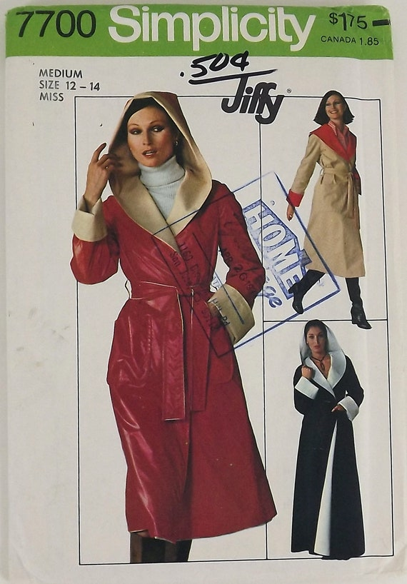 Vintage 70s Sewing Pattern, Misses Jiffy Coat, Size Medium, Two Lengths