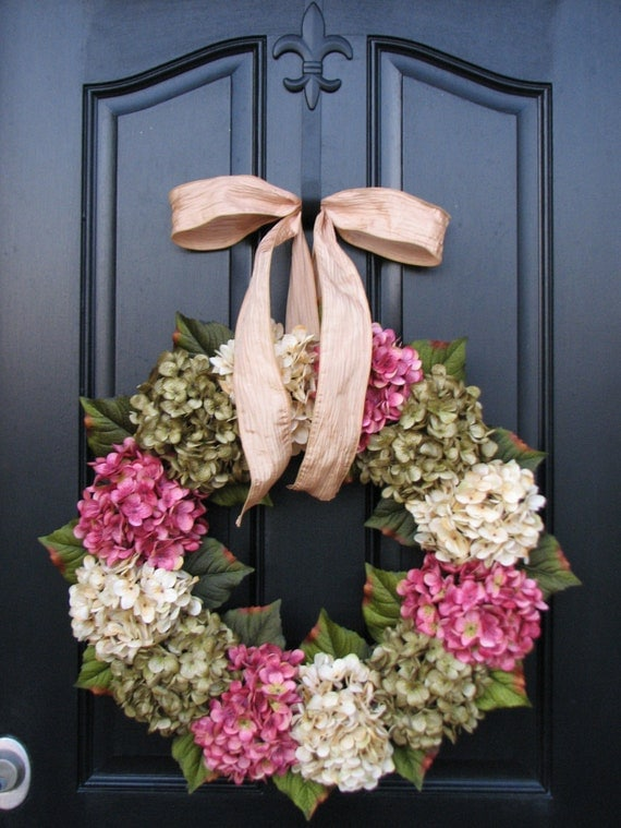 Spring Wreaths, Hydrangea Wreath, Spring Decorations, Online Wreath, Etsy Wreaths, Spring Hydrangeas, Spring Home Decor