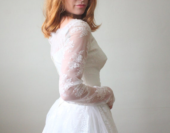50s wedding dress - 1950s white lace wedding dress