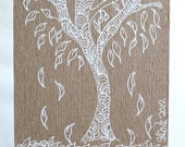 Winter Tree 2 ACEO - Original Drawing on Brown Kraft Card