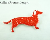 Dachshund Sausage Dog Brooch Red Floral