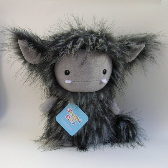 Furry Stuffed Toy Monster Art Doll - Charcoal Grey Frost Monster by Stuffed Silly, Designer Plush, Cute Collectible