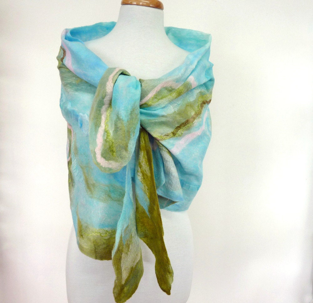 Blue Silk And Wool Scarf Nuno Felt Scarves Made in by sesenarts White Silk Scarves Australia