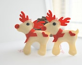 Christmas Reindeer - Rudolph the Red Nosed Reindeer, Felt Christmas Ornament - Set of 2