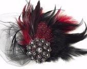 BEST SELLER,Last One, Black and Red Fascinator, Vintage Headpiece, Bridal, Pin Up, Black rhinestone Brooch, Style B028 - yanethandco