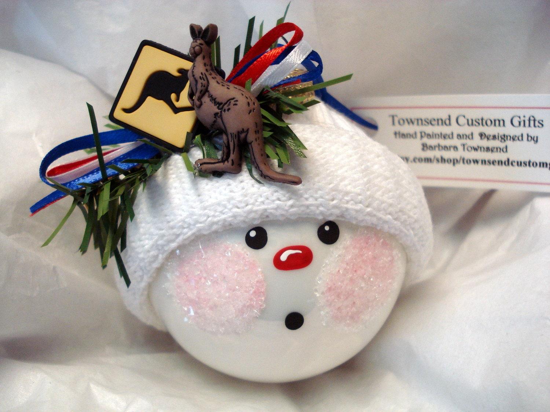 Kangaroo Bauble Christmas Snowball Hand By TownsendCustomGifts