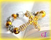Gold Faith Sideways Cross Bracelet
