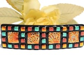 Dichroic Glass Barrette, Mosaic Art, Fused Glass Accessory, Texture, OOAK, Fall Harvest, Squares, Gold Orange Teal Red Black (Item 50068-B) - IntoTheLight