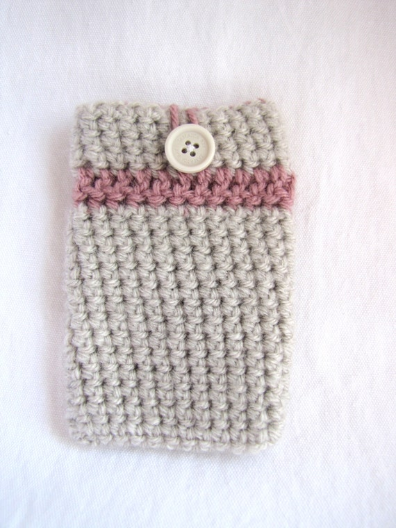 Crochet Cell Phone Case Linen and Dusty Rose
