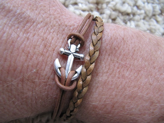 Nautical Silver Anchor Rustic Brown Braided Leather Single Wrap Bracelet