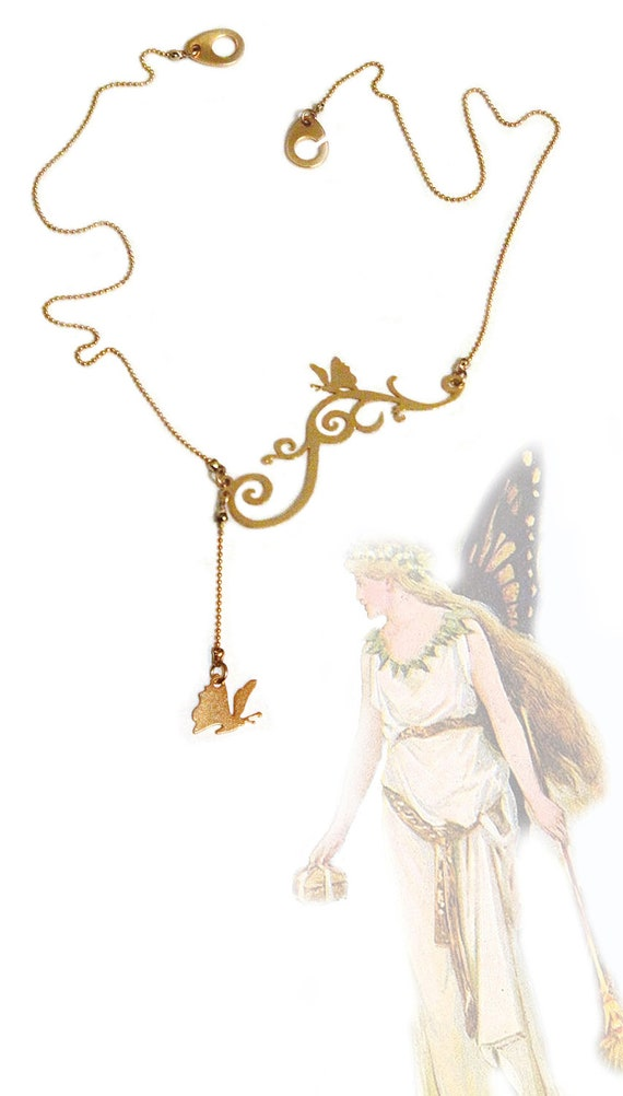 Golden Butterfly on a swirly branch - Spring fashion - Gold plated necklace