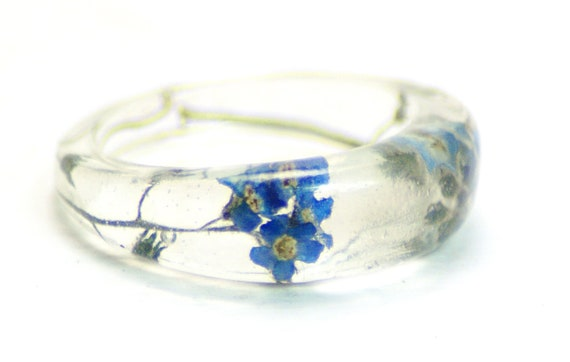 Forget Me Not Ring- Resin Ring-Resin Jewelry-Real Flower Jewelry-Blue Flowers-Jewelry Made with Real Flowers