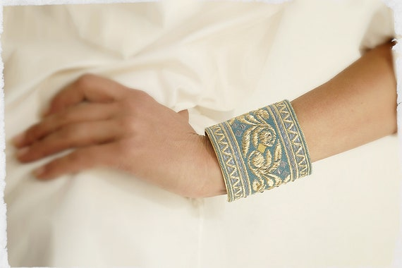 Handmade Vintage French Silk Ribbon Bracelet Cuff in Blue, Silver & Gold motif, embellished with Swarovski crystals