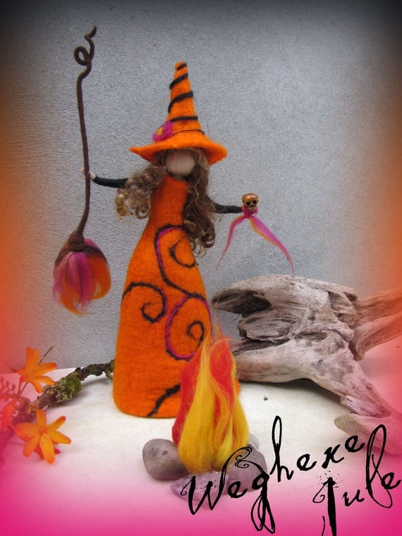 Jule - felted witch, neddle felted and wet felted