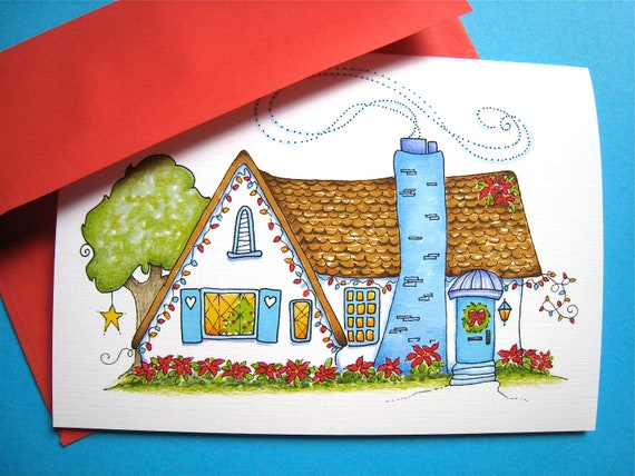 Cozy Christmas Cottage, Christmas Card, Home for the Holidays