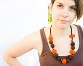 Orange Necklace - Orange Bead Necklace - Summer necklace