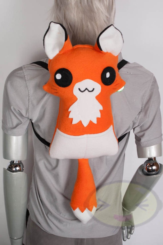 Orange Fox Kitsune Backpack, Handmade
