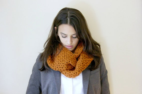 Women's Infinity Scarf in Rust  / Women's Winter Accessories / Crocheted Winter Scarf