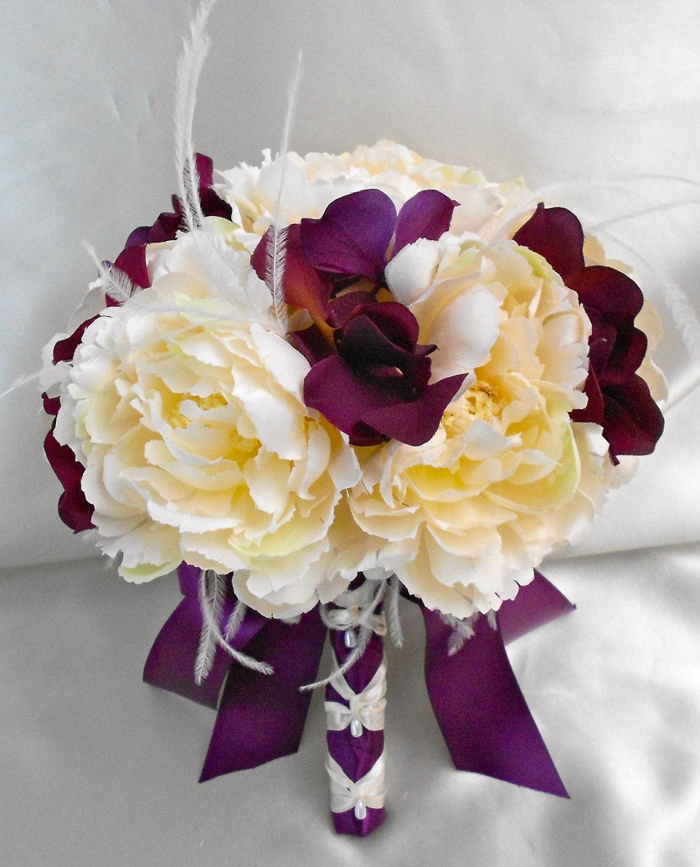 Your Color Customizable Ivory Eggplant Purple Peony Hydrangea Wedding