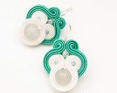 Emerald wedding earrings with soutache and sterling silver earwires - MANUfakturamaanuela