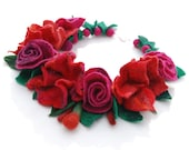 Felted flower necklace/collar- wool, balls, pink,red,rose,nuno felt,silk - AnnaWegg