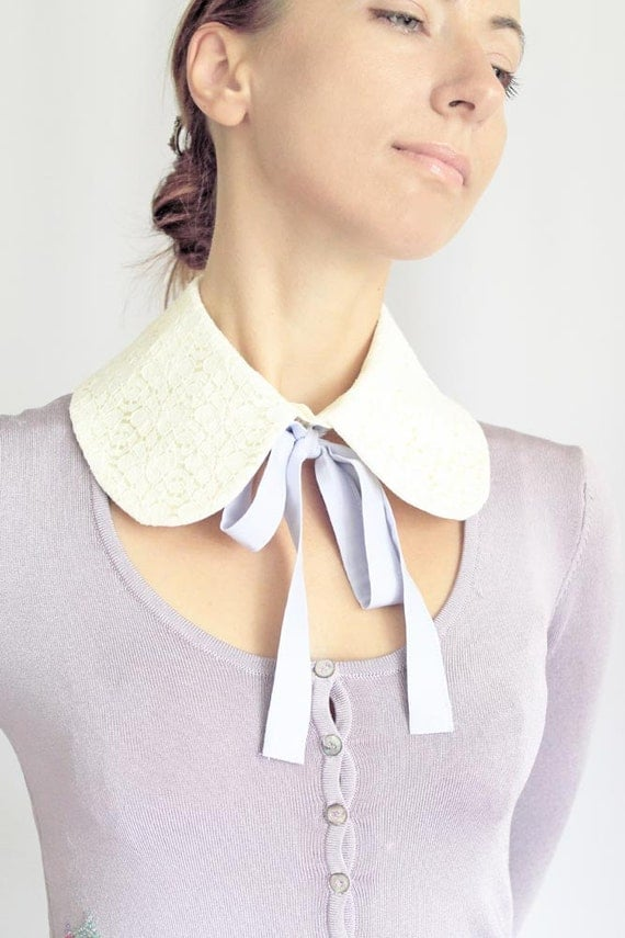 CIJ Sale 10% Off Detachable Collar Vanilla Ivory Cream Beige Lace Collar with Detachable Lilac Grey Blue Ribbon Bows Lolita Shirt Collar