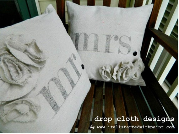 Mr. & Mrs. Rosette Drop Cloth Pillow Set (inserts included) - 14 x 14
