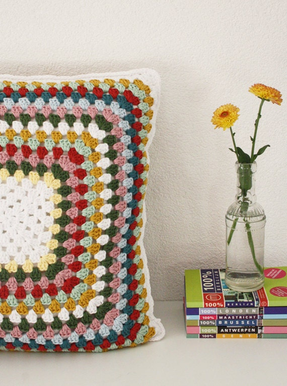 Happy in Red - Granny Square Pillow Case