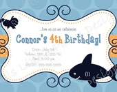 Custom Shark Birthday Invitation - FeelsLikeAParty