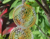 Crocheted Dreamcatcher Earrings in Yellow/Orange Multi