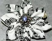 Musical note cotton fabric kanzashi hair flower clip