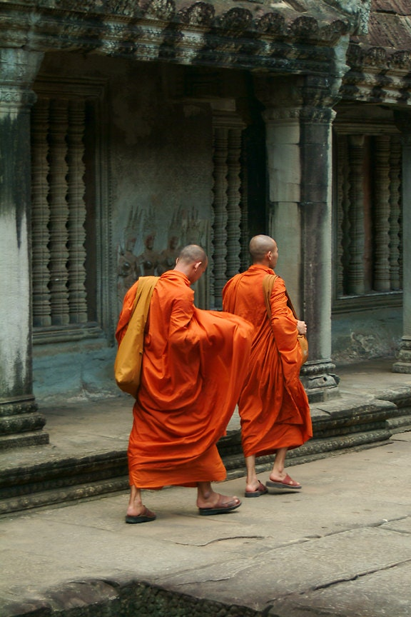 Buddhist Monks Photograph Home decor Orange by NicoleAdamsPhoto