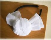Bridal White Rose Headband, Wedding hair piece, bridal headpiece, hairband, head accessorie