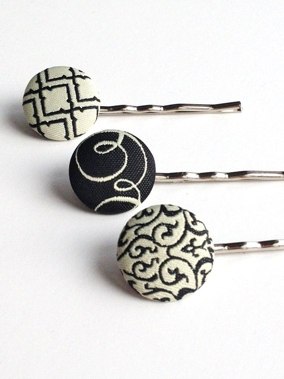 black and white hair pins