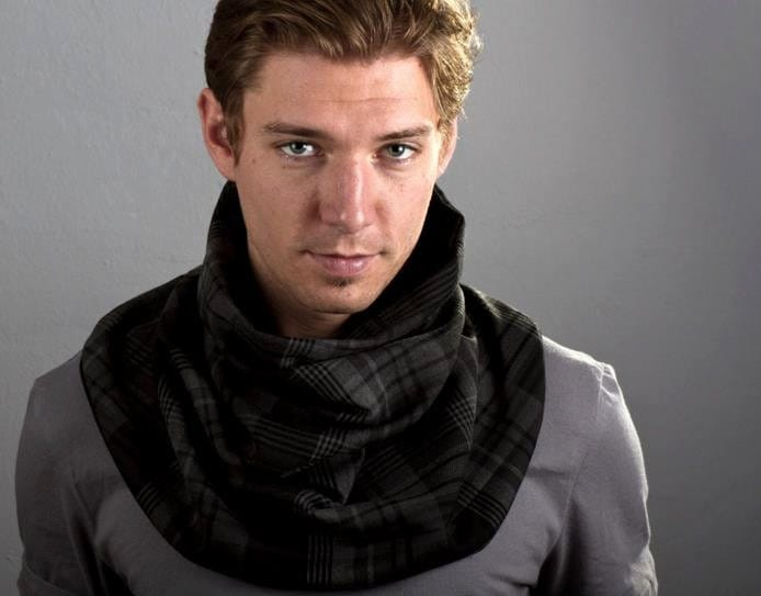 Mens Cowl Neck Scarf Plaid and Faux Suede Reversible by LePoshNoir Cowl Neck Scarves Men