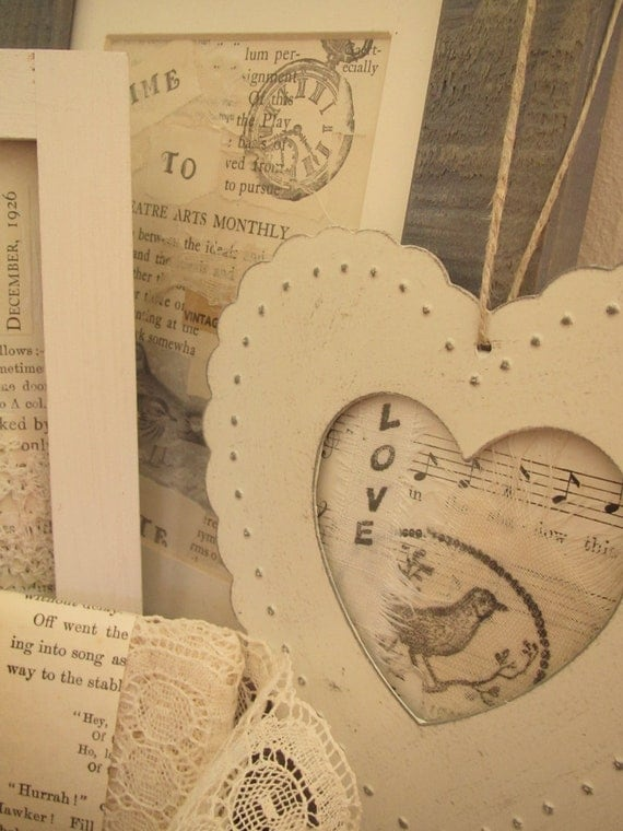 "Shabby Shaker Style ""LOVE"" Heart Punched Tin Bird Decorated Paper Ephemera Shabby Chic Collage Pictue Framed Art"