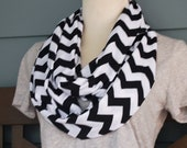 Black and White Chevron Jersey Knit Infinity Scarf - mysweetswirls