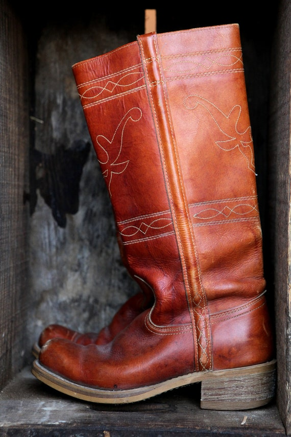 women's rust red leather garden boots