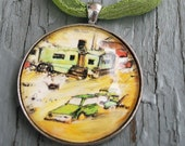 Original Art Pendant of Green Trailer and Car - EntropicGrace